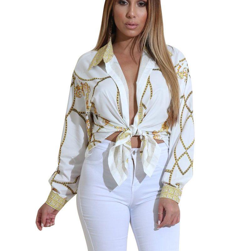 Womens Chain Print Long Sleeve Blouse V Neck Shirt Loose OL Casual Tops T-shirts