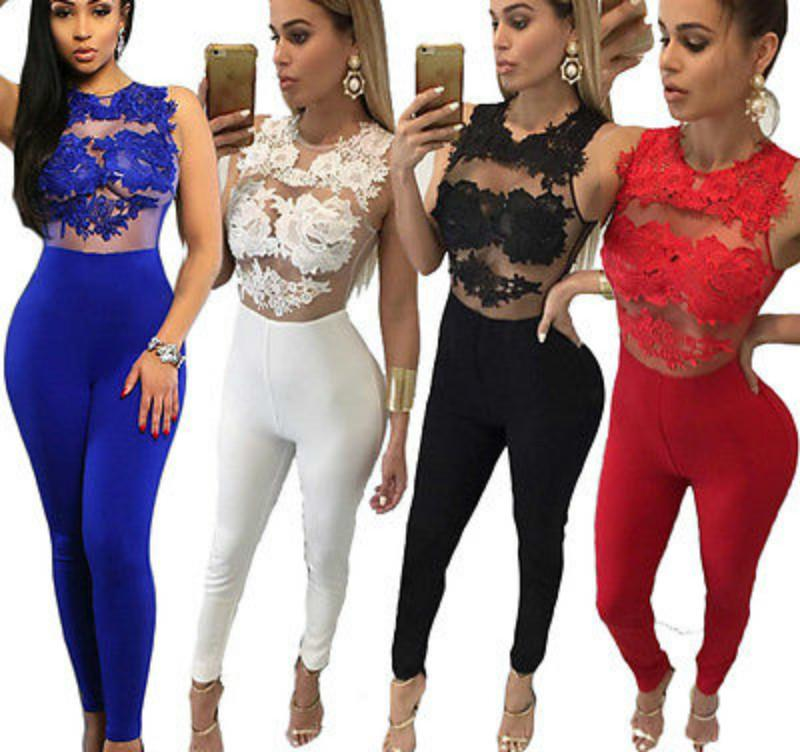 Sexy Fashion Women Sleeveless Bandage Bodycon Jumpsuit Lace Romper Trousers Evening Clubwear Red C19040301