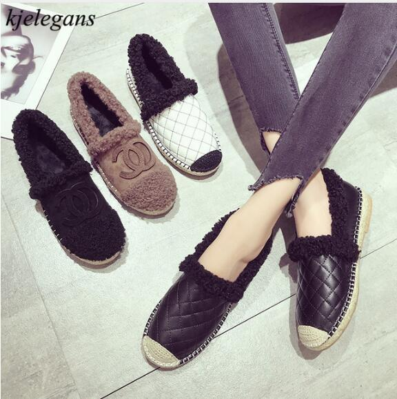 c05937645ba Kjelegans 2018 Brand Design Women Shoes Spring Autumn Casual Furry  Comfortable Women Flat Ladies Loafers Shoes Zapatillas Mujer Mens Loafers  Buy Shoes ...