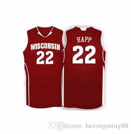 buy popular 4a658 15073 #22 Ethan Happ jersey #15 Sam Dekker Wisconsin Badgers College Men s  Embroidery Stitched Basketball Jersey Custom any name and number