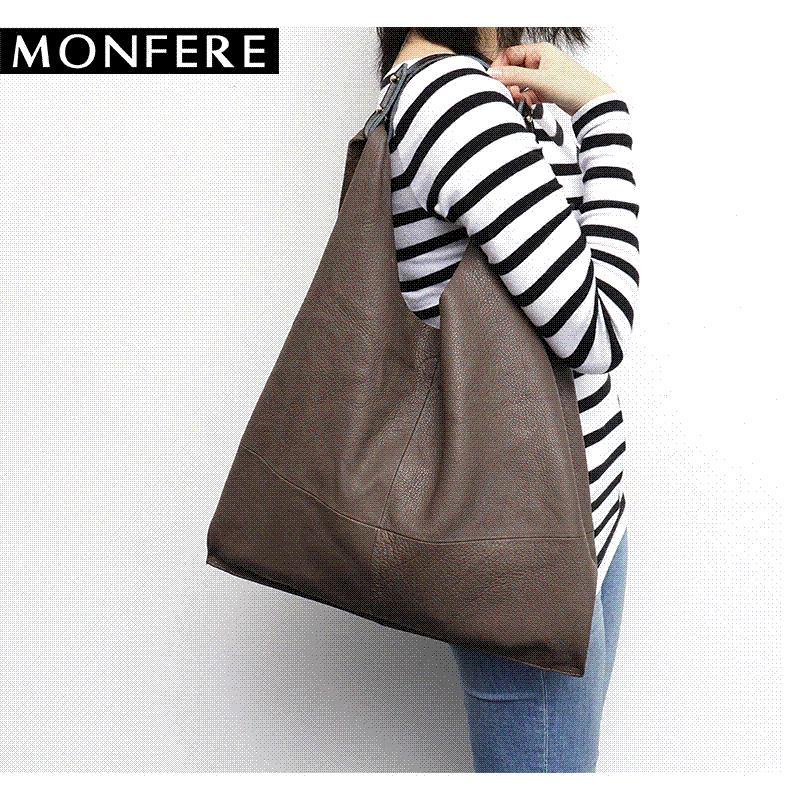 07c16155d456 MONFERE Casual Women Hobo Bag Soft Genuine Cow Leather Fashion Shoulder  Bags Female Large Tote Bucket Shopping Handbag Amp Liner Bag Ladies Bags  Leather ...
