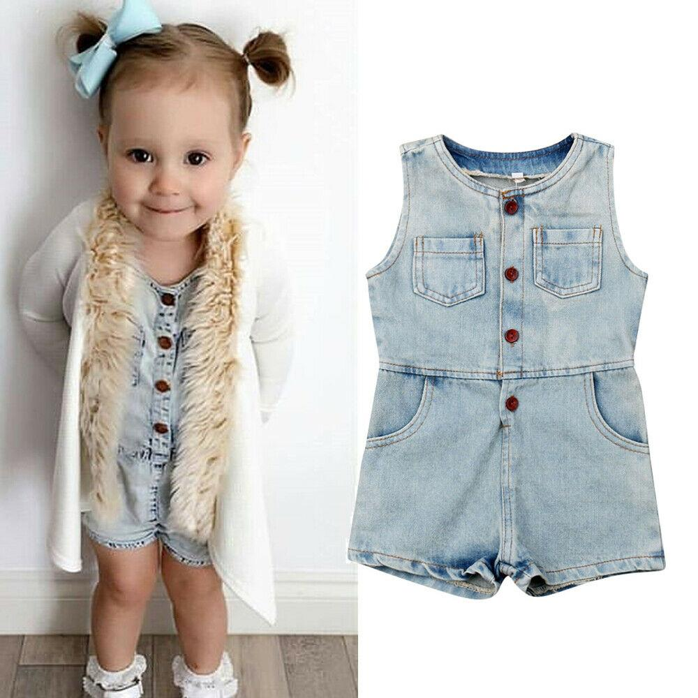1-5Years Toddler Kids Baby Girls Denim Pagliaccetto Bottone senza maniche Tuta Completi tuta da gioco