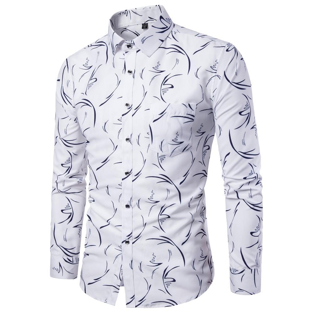0053c88186 Compre Camisas Casuais Mens Camisa Moda Chemise Homme Imprimir Vestido De  Camisa Hip Hop Camisas Hombre Camisas Hombre Manga Larga Blusas Tops 5 De  Primali