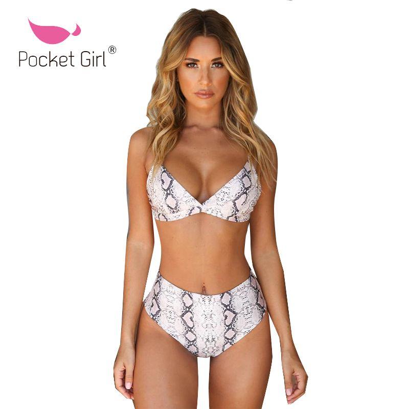 defbc38d461 Pocket Girl 2019 Leopard High Waist Bikinis Sexy Women Swimsuit Female Push  Up Swimwear Print Brazilian Bikini Set Bathing Suit Bikinis Set Cheap  Bikinis ...