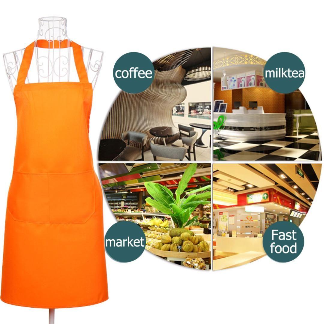 5de277268 Solid Color Lady Women Men Adjustable High-grade Kitchen Apron ...
