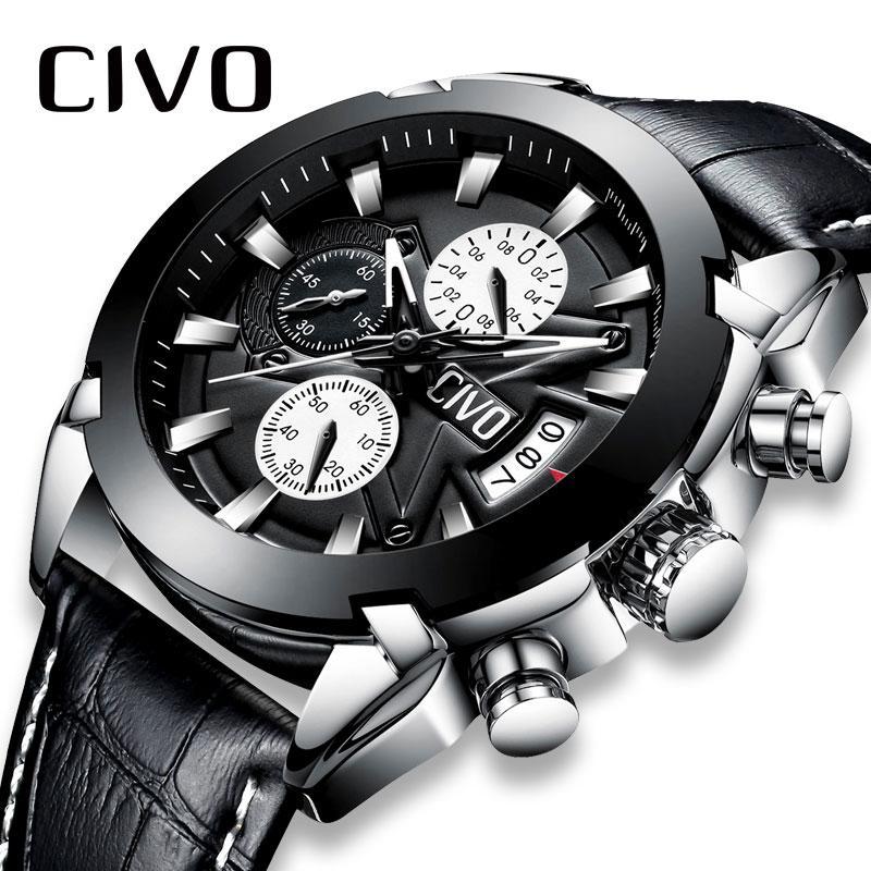 En Civo Quartz Hommes Sport Date Pour Calendrier Montre Montres Adolescent Analogique Étanche Chronographe Cuir droQCxeWB