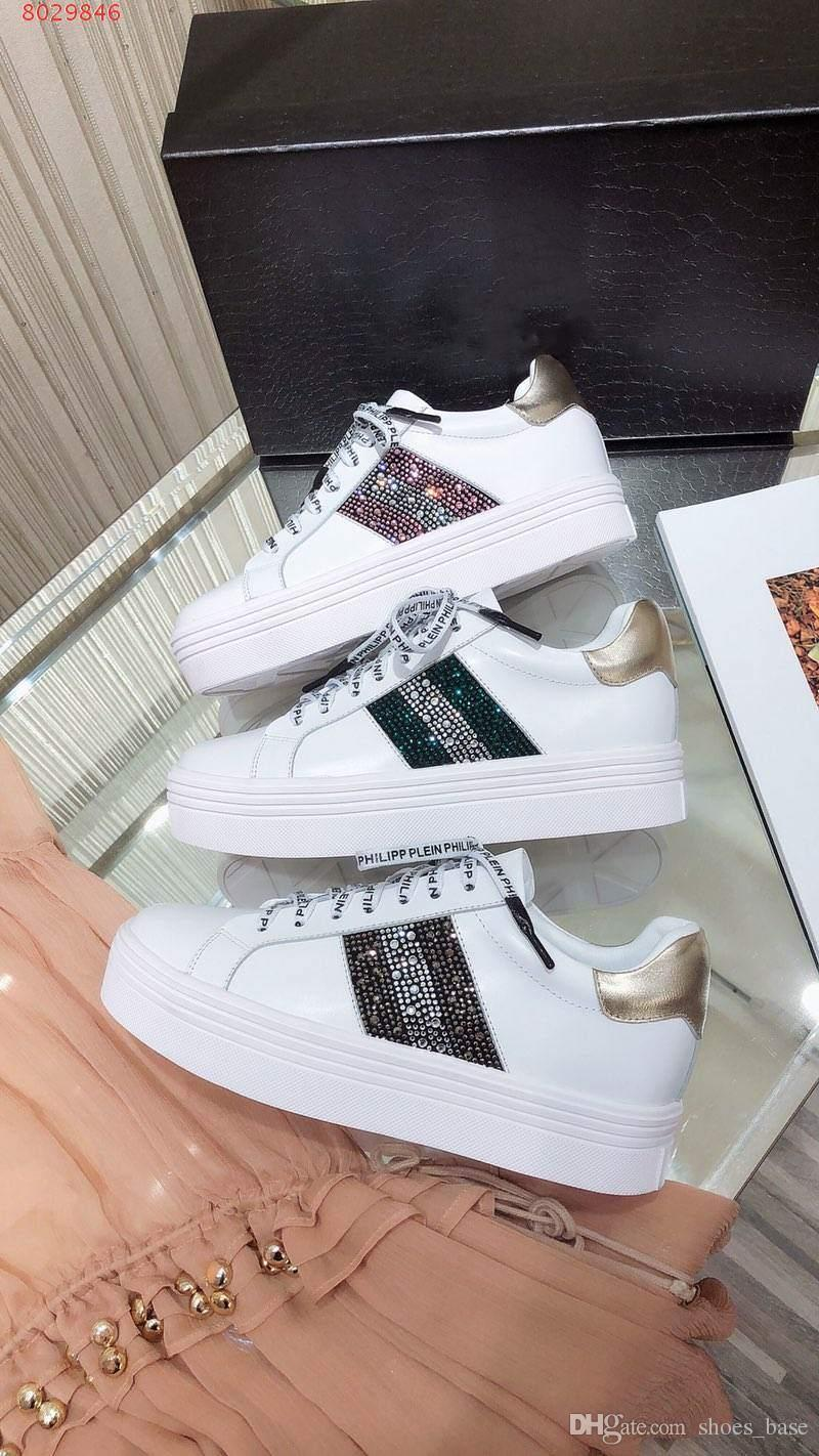 2019 new Colour crystal diamond small white shoes series All imported leather fabrics Women's fashion casual sports shoes