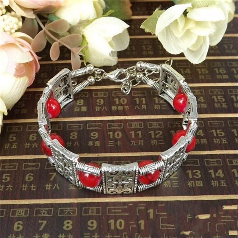 Vintage Bohemia Style Tibetan Silver Red/Blue Stone Bracelets Square Beads Carving Charm Bangles&Bracelets For Women Jewelry