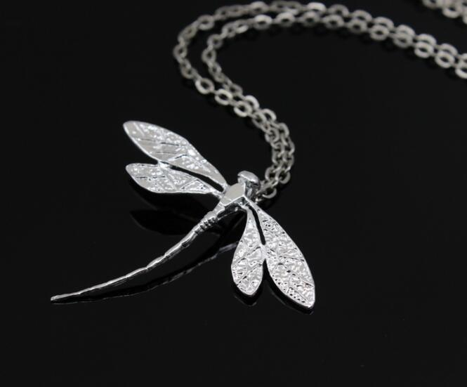 DHL Cute design 925 sterling silver dragonfly pendant necklace fashion party jewelry for women Party Favor Supplies