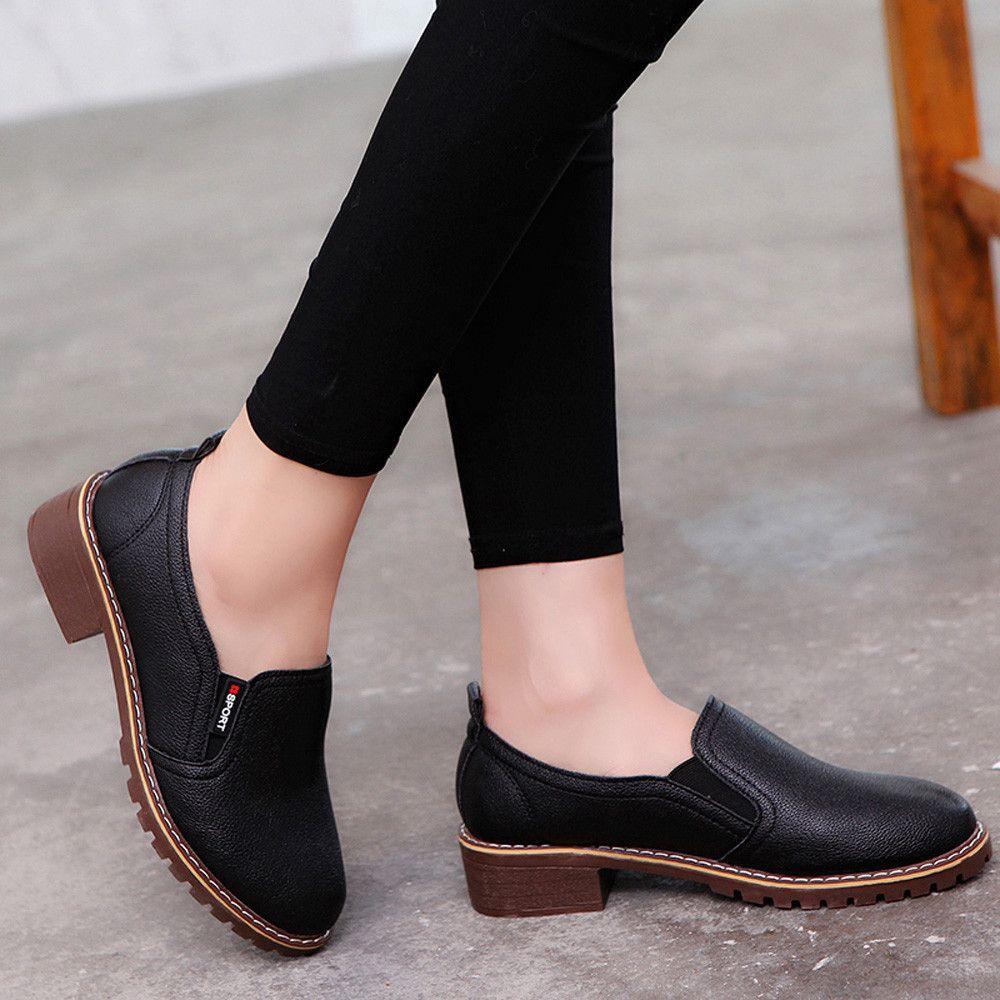 5fc16160 Compre Zapatos De Vestir 2019 Bombas De Mujer Nueva Moda Primavera Verano  Mocasines De Moda Tobillo Tacón Bajo Cuero Oxford Casual Corto A $28.53 Del  Deal5 ...