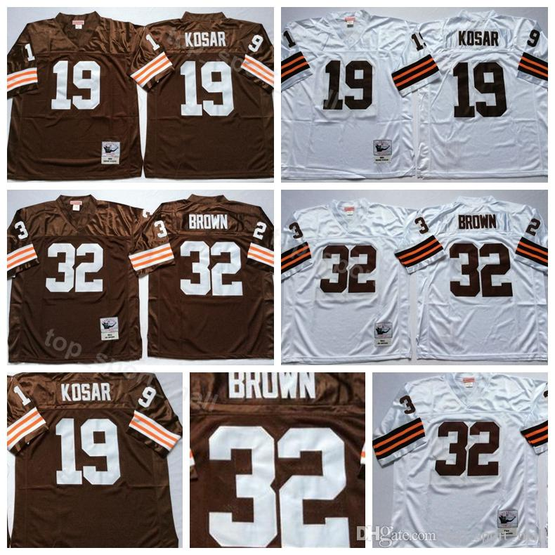 new style a0d2a b76b9 Cleveland Vintage 19 Bernie Kosar Jerseys Browns Man White Away Football 32  Jim Brown Jersey Breathable For Sport Fans High Quality