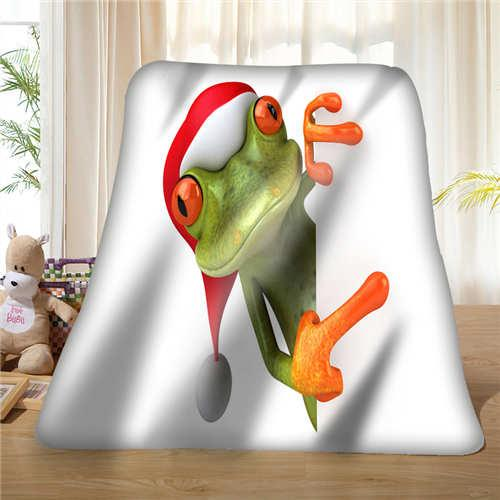Custom Frog-With-Flower-Funny (1) Coperta Soft Fleece DIY Your Picture Decorazione Camera da letto Divano Multi Size # 929-02-002-8