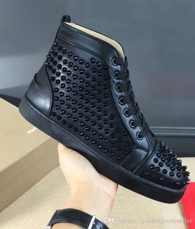 bcd122ebae1 Wholesale Red Bottom Flat Shoes Black White Full Spiked High Cut  Sneaker,Men Sports Casual Shoe Red Sole Genuine Leather Free Shiping