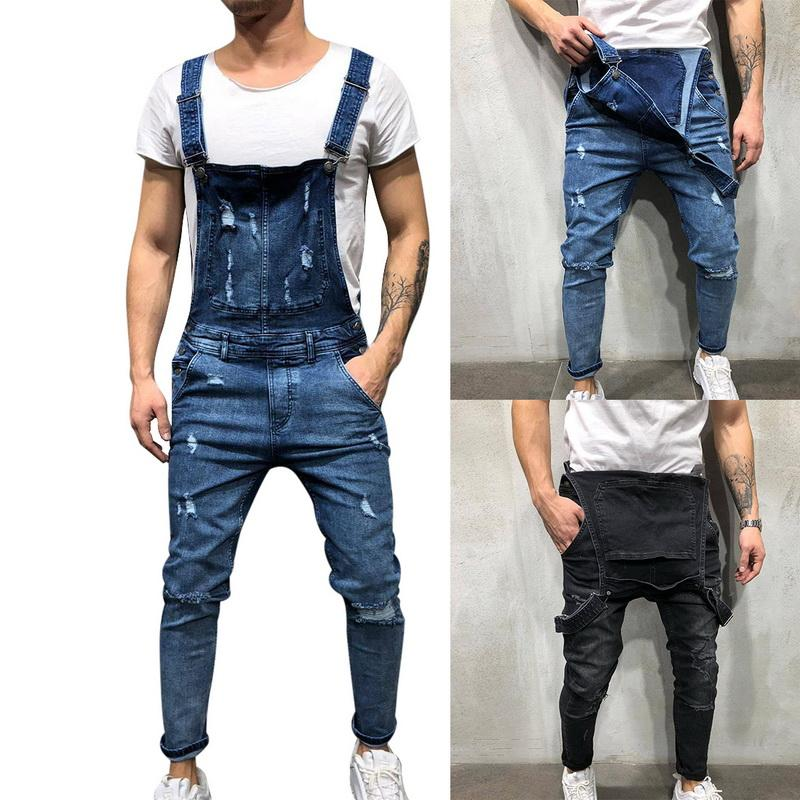 WENYUJH 2019 Fashion Men's Ripped Jeans Jumpsuits Street Distressed Hole Denim Bib Overalls For Man Suspender Pants Size M-XXL