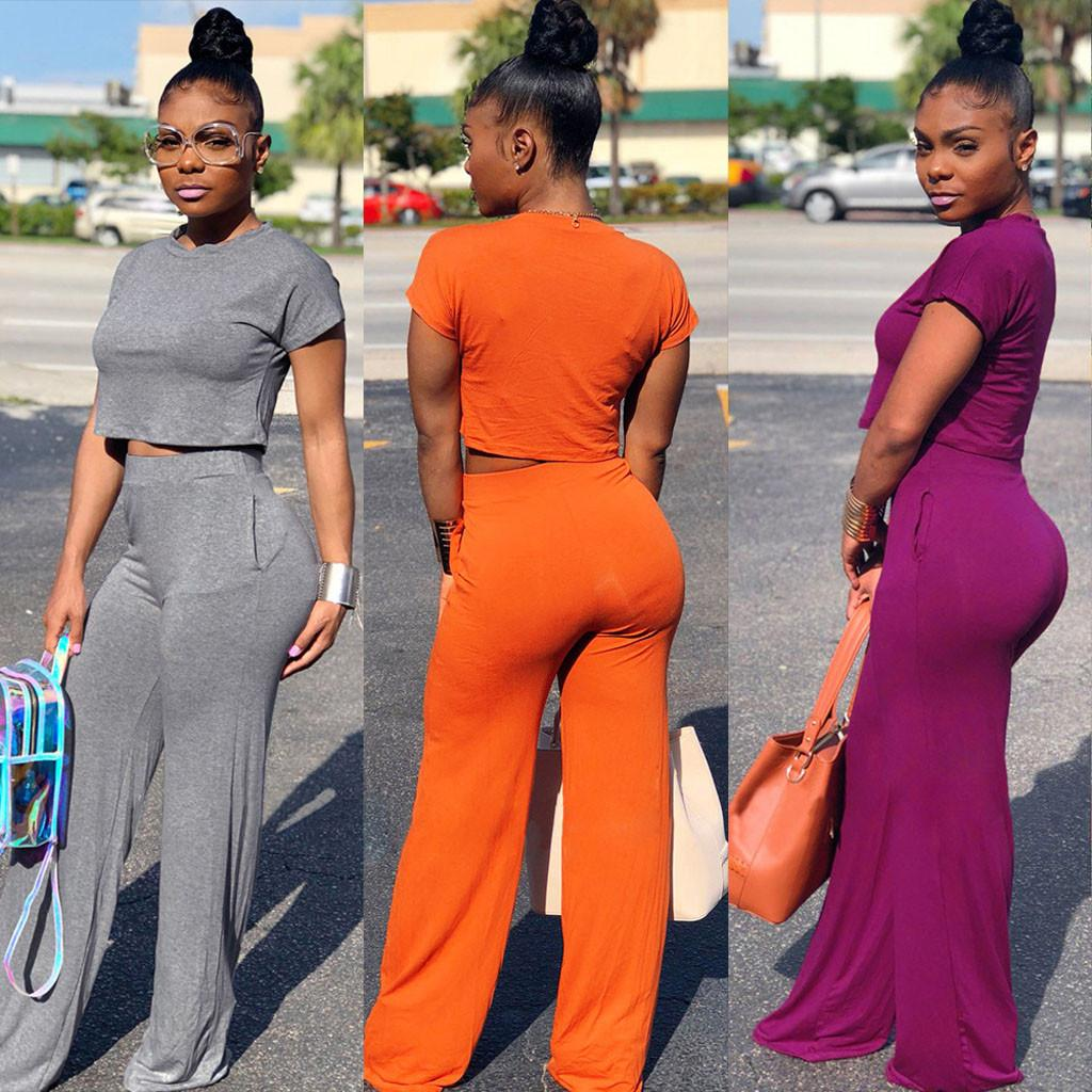 2PCS Elegant Solid Sexy Women Sets Casual Wide legs Pants Leotard Fashion Summer Round Neck Short Sleeve Jumpsuit Sets 5.24