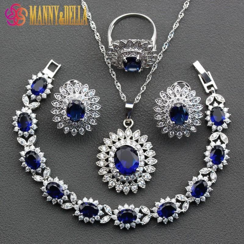 6f4829ccb8a0 Compre Perfect 925 Conjuntos De Joyas De Flor De Plata Esterlina Para Las  Mujeres Azul Anillo De Cristal De Circón Tamaño 6 7 8 9 10 Longitud De La  Pulsera ...