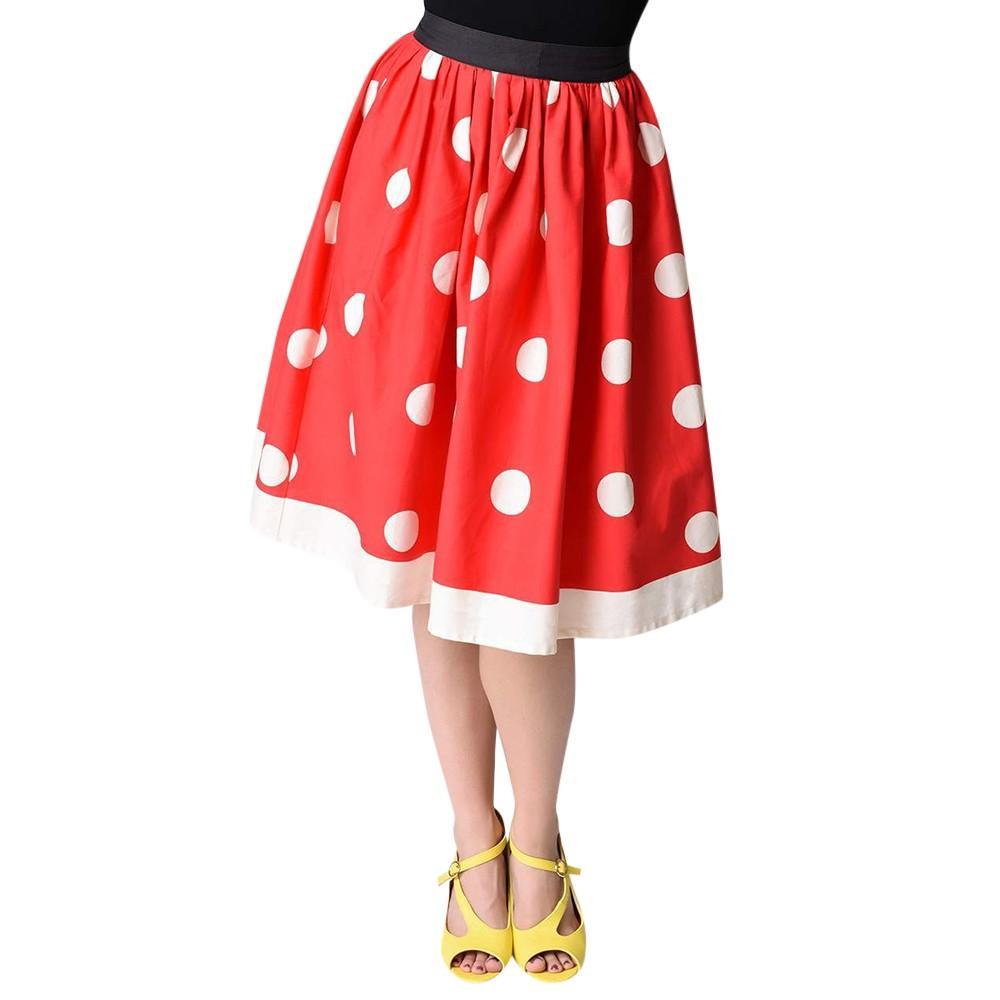 ea7e7e08e Compre Nuevo Estilo De Verano Sexy Falda Para Niña Dama De Navidad Lunares  Imprimir Rodilla Falda De Las Mujeres De Cintura Alta Cosplay Vestido De  Bola ...