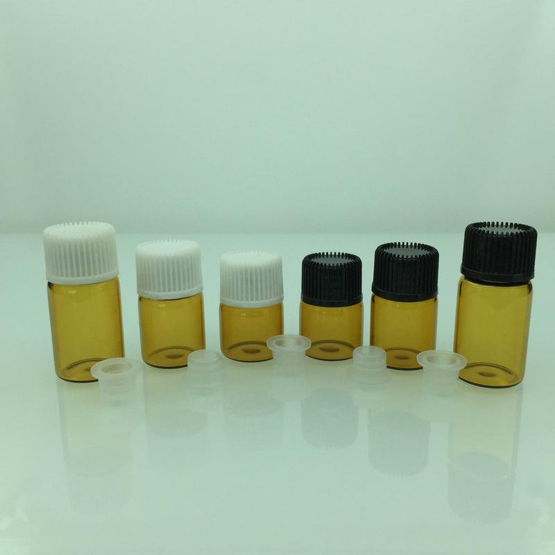 1000pcs/lot 1ml 2ml 3ml 5ml amber Glass Dropper bottle Mini Sample Glass essential Oil bottle with glass hose vials