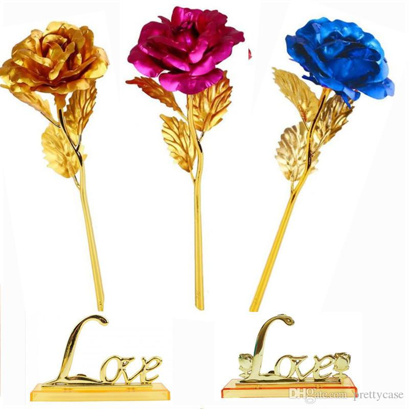 24k Gold Dipped Roses Artificial Long Stem Gold Plated Rose Wedding Party Propose Decoration Rose Christmas Valentines Mothers Day Gift
