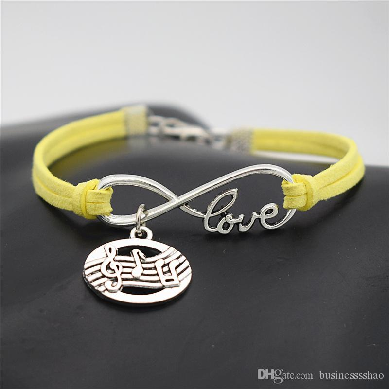 Single Layers Charm Yellow Leather Suede Bracelet & Bangles for Women Men Vintage Infinity Love Oval Music Score Symbol Musical Note Jewelry