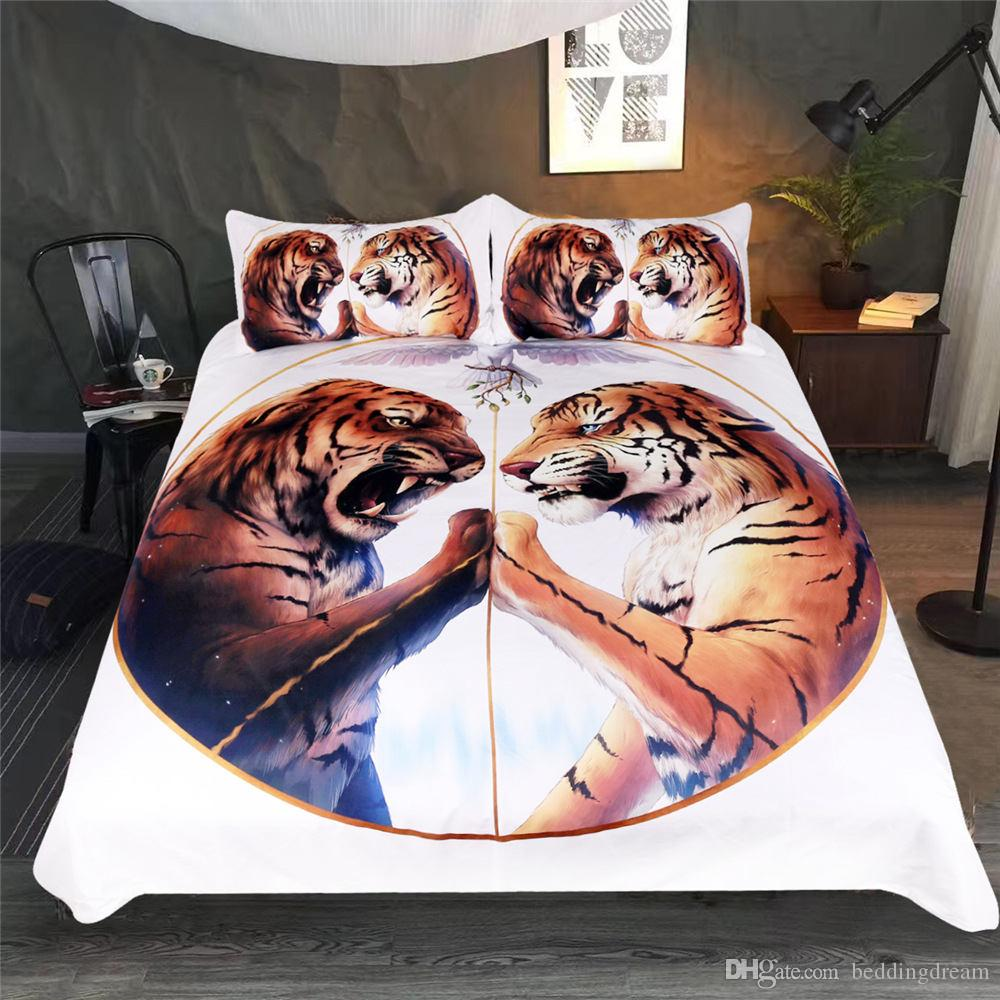 King Size Bedding Set Tiger Printed Soft Tribal Style 3D Duvet Cover Queen White Home Textile Single Double Bed Cover with Pillowcase