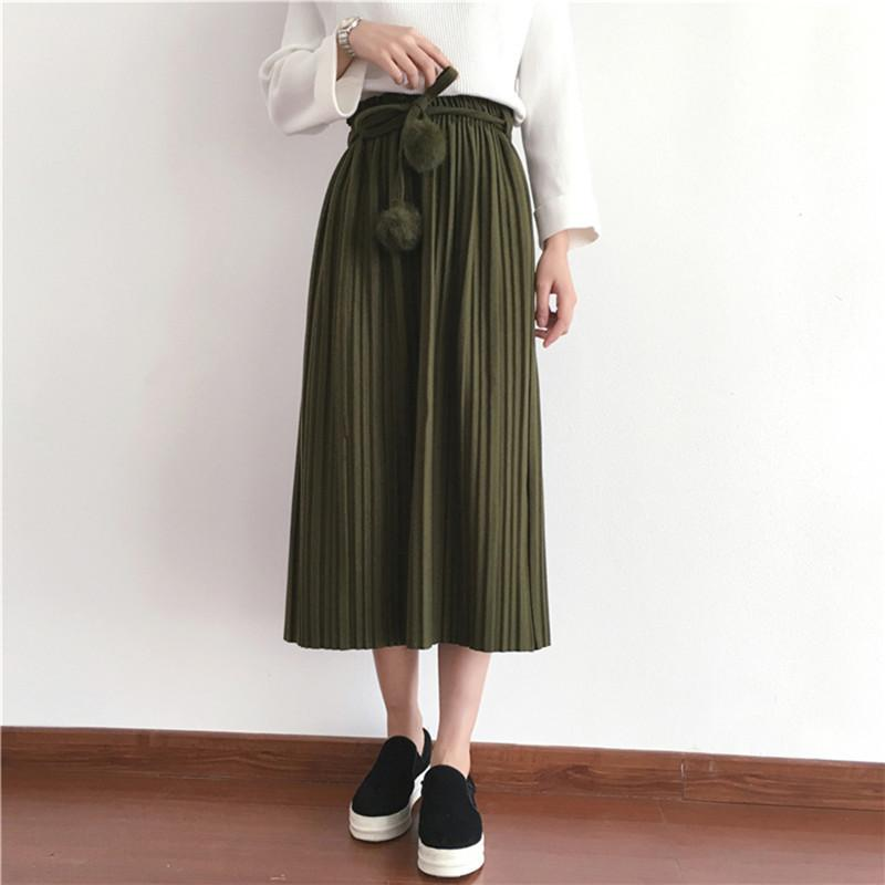 f6d2e24a10 2019 2019 New Spring Korean Style Wool Thick Pleated Skirt Hairball Belt  Faldas Largas Elegantes Available J190411 From Babala3, $27.9 | DHgate.Com