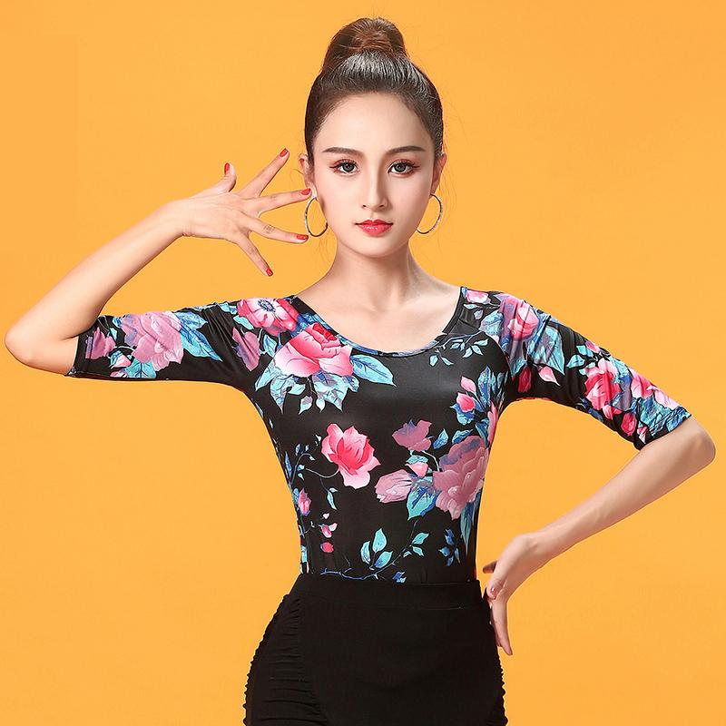 fbcb19e7529 2019 Fashion Half Sleeve Modern Sexy Latin Dance Clothes Top For Women  Female Lady Dancers