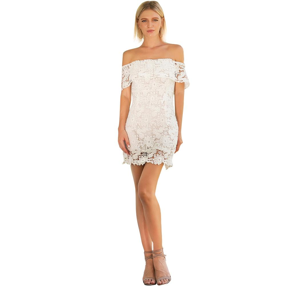 48070c05e5 2019 Sexy Off Shoulder Lace Dress Women Floral Crochet Lace Hollow Out  Pencil Dress Slim Elegant Ladies Summer Mini Dress White White Dress  Cocktail Party ...