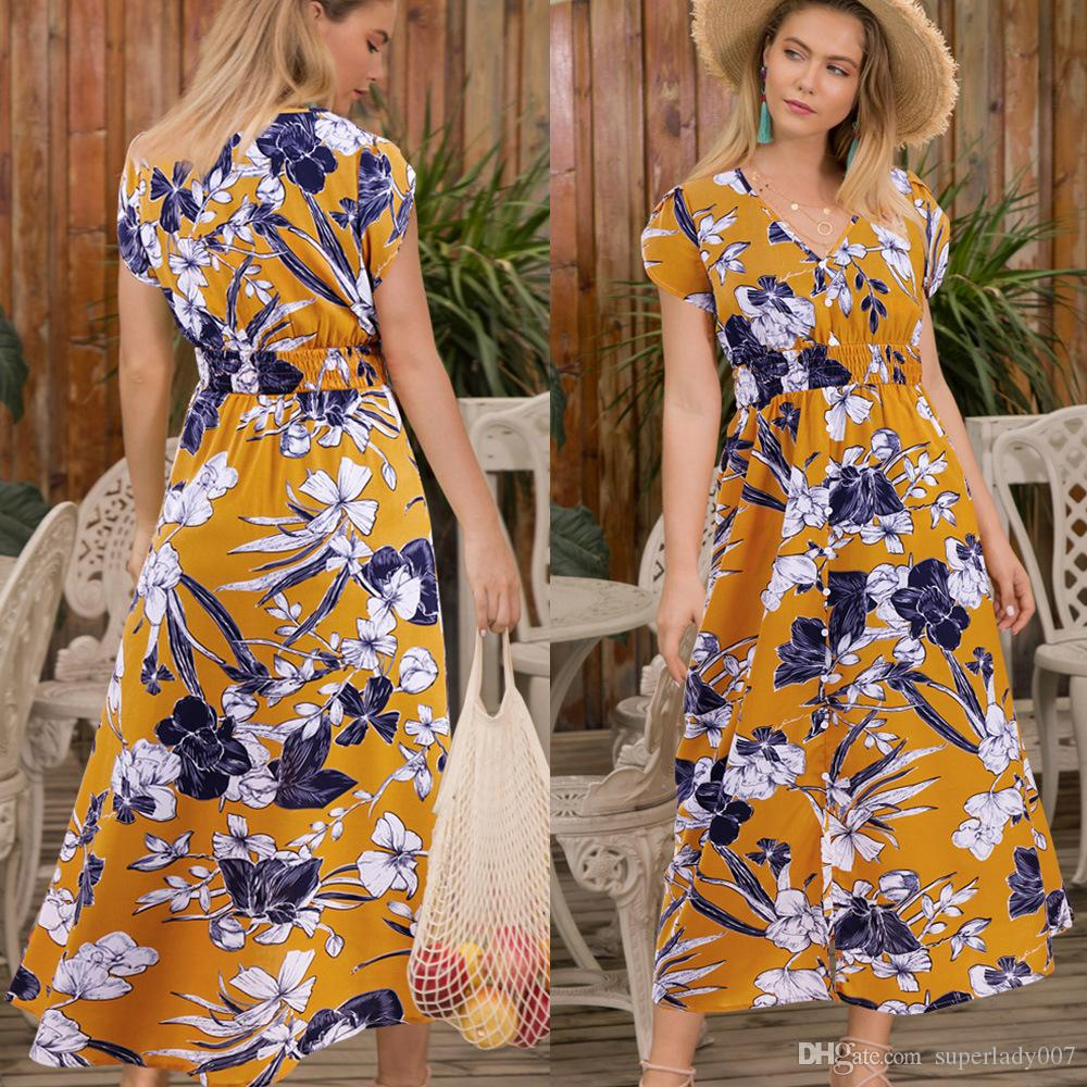 4ef881c236 V Neck Pullover Button Up Dress Printed Floral Split Skirt Beach Dress  Women'S Casual Dresses Seaside Skirts Sexy Women'S Long Dress Summer  Cocktail Dresses ...