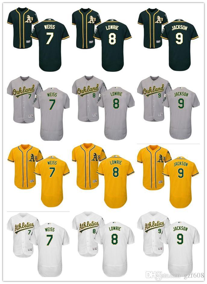buy online 5da98 478e4 custom Men s women youth Oakland Athletics Jersey #7 Walt Weiss 8 Joe  Morgan 8 Jed Lowrie 9 Reggie Jackson Green Grey White Baseball Jerseys