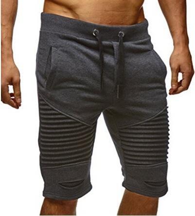 Summer Men Shorts Trousers Folds Hole Elastic Fashion Draped