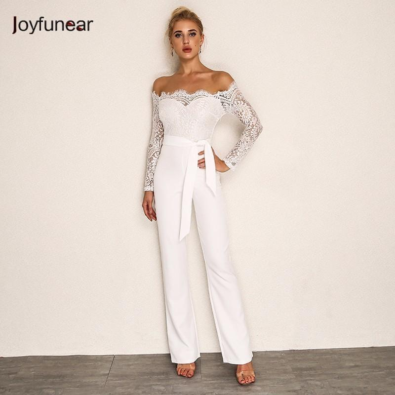 419207e7194e 2019 Joyfunear 2018 Summer Rompers Women Jumpsuit Sexy Ladies Casual  Elegant Lace Off Shoulder Long Trousers Overalls Black Jumpsuit Y1891808  From Shenyan01 ...