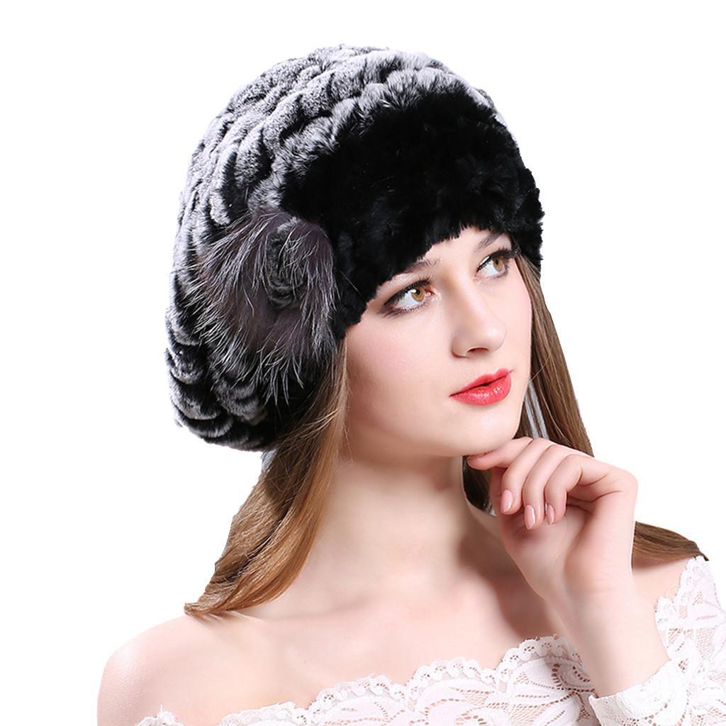 ... 2019 Cappelli Invernali Donna Donna Inverno Fur Berretto Cappello Rex  Pelliccia Di Coniglio Lavorato A Maglia Cappuccio A  24.65 Dal Juaner  68ca0ede7d5e