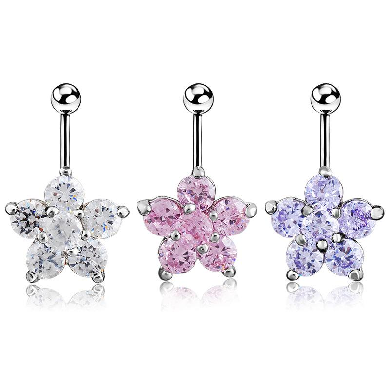 Flower Navel Belly Button Bar Ring Barbell White Pink Crystal Ball Body Piercing Lip Ear Nose Dance Party Body Jewelry