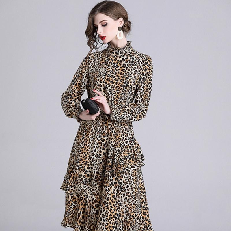 2019 2019 Vintage Print Leopard Dress For Women Long Sleeve Ruffle Dresses  Stand Neck Tunic Irregular Long Dress Trend From Sinofashion 168d481c1