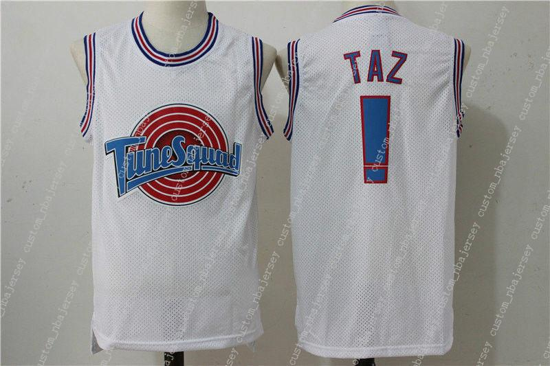51f928da703 2019 Cheap Custom Space Jam Jersey TAZ #! Tune Squad White Basketball Jersey  Stitched Customize Any Name Number MEN WOMEN YOUTH JERSEY XS 5XL From ...