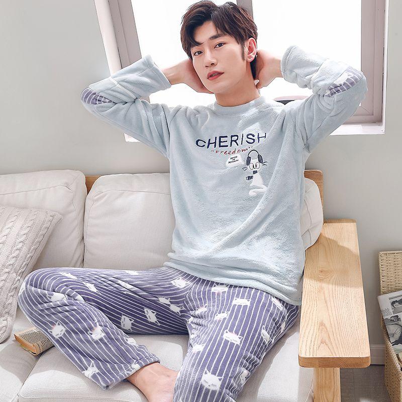 dac21133809 2019 Winter Warm Long Sleeved Flannel Pajamas Cartoon Mens Pajama Sets  Thick Striped Men S Sleepwear Coral Fleece Sleepwear Fashion From Qackwang