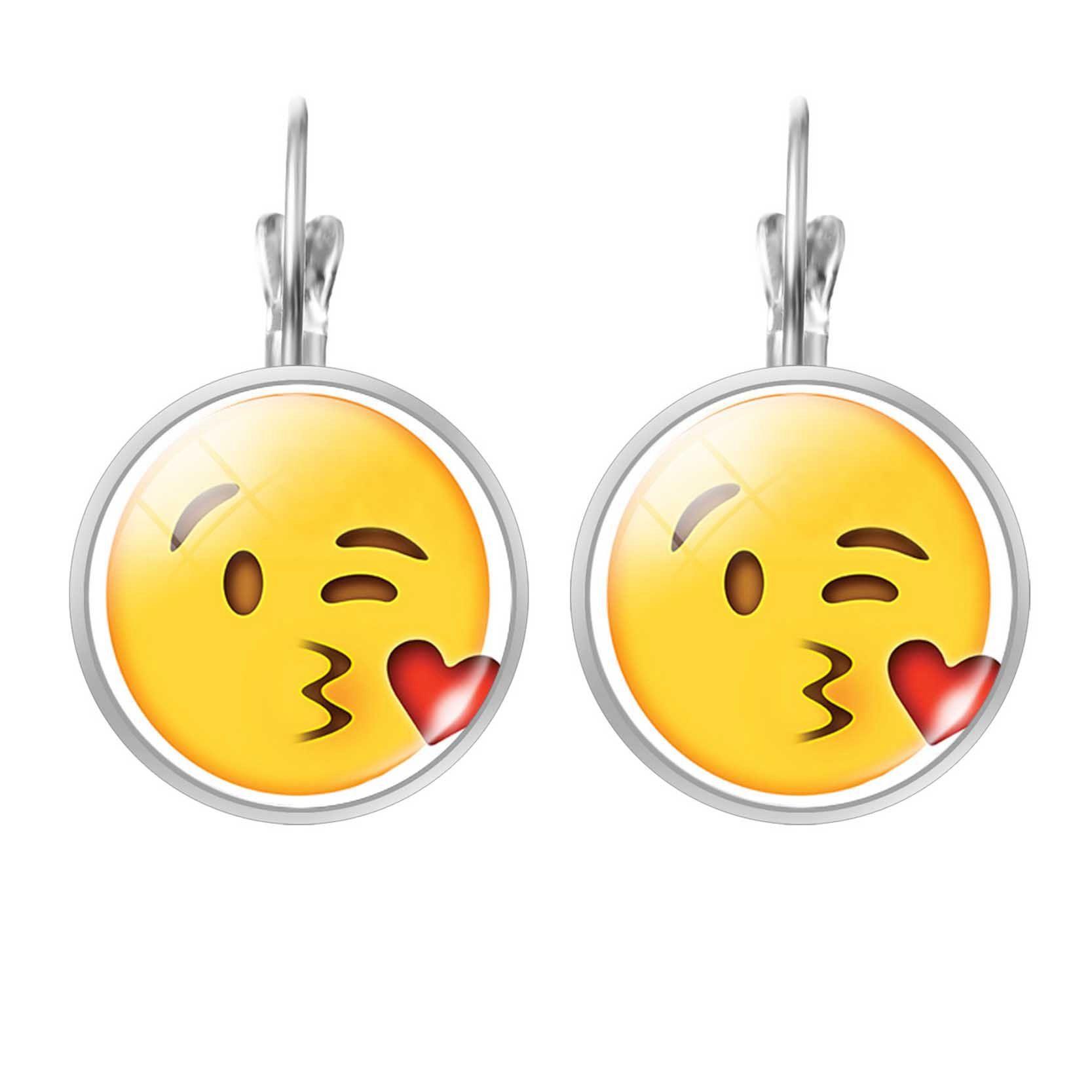 LIEBE ENGEL Sevimli Takı Saplama Küpe Emoji Resim İfadeler Cam Cabochon Küpe Kadınlar Için Gümüş Renk Aksesuarları Moda
