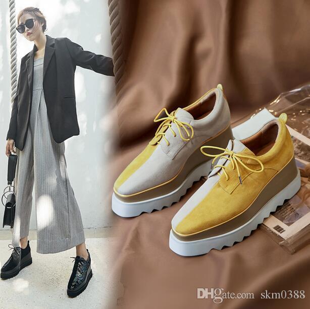 96031221a5de 2019 Women Suede Platform Shoes Genuine Leather Mixed Colors Lace-Up ...