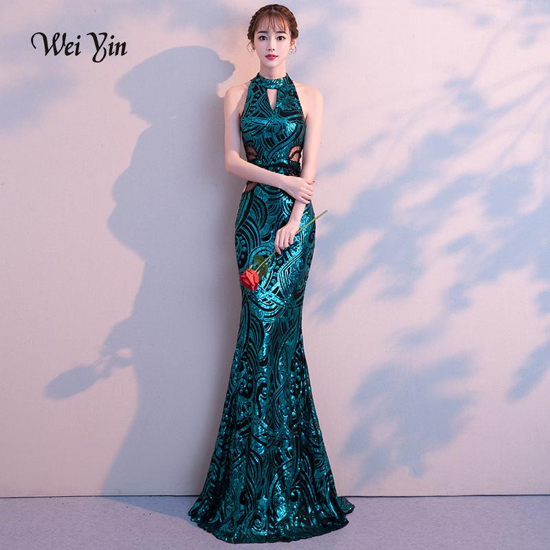 dabe373a52 Weiyin 2019 New Sexy Mermaid Long Evening Dresses Vestido De Festa Luxury  Green Sequin Formal Party Dress Prom Gowns Y19042701