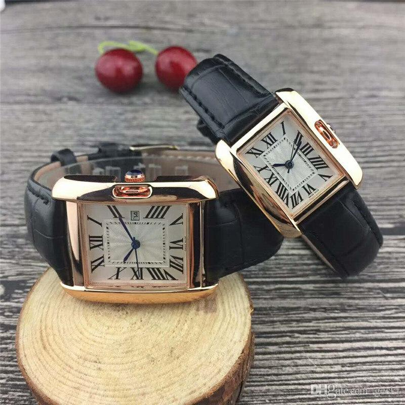 2019 New Couple Luxury Brand Women Men Watches Fashion Leather Strap Gold Quartz Classic Wrist Watch For Mens Ladies Designer Iced Out Watch