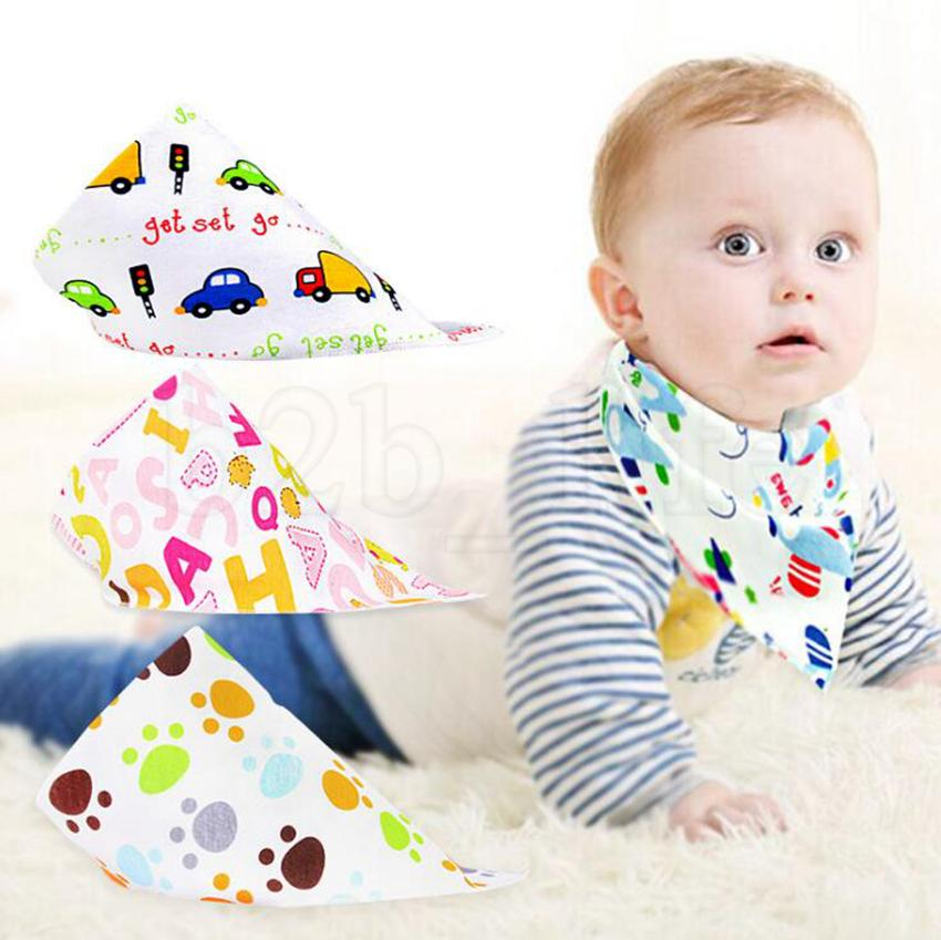 INS Baby Bibs Cartoon Printed Triangle Burp Saliva Cloth Infant Toddler Bandana Scarf Kids Button Nursing Bibs 1200pcs OOA6835