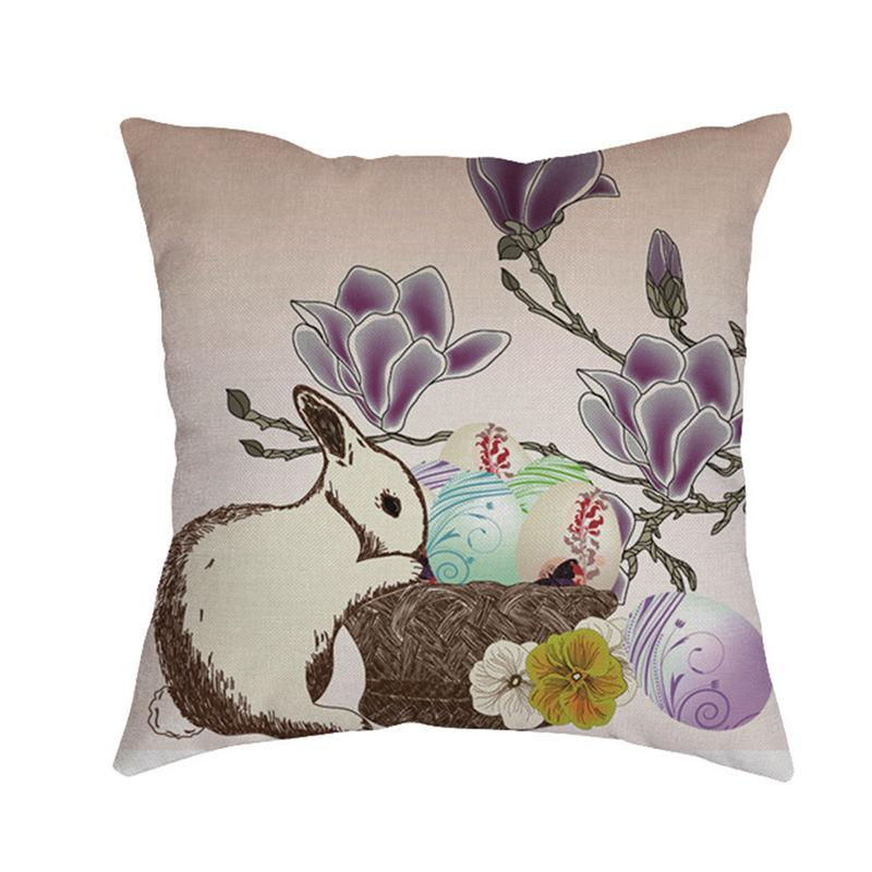 1 Piece Easter Sofa Bed Home Decoration Festival Pillow Case Cushion Easter Bunny Rabbit Egg Linen Printed Pillow Case