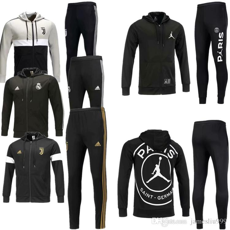 pretty nice 060fd afd50 Juventus Hooded jacket tracksuit 18 19 JUVE Champions League RONALDO  jackets 2018 2019 psg Jordam Paris football jacket Sweatshirt Set