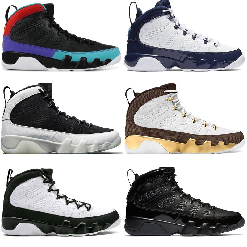 Mit Box 2019 9 9s Traum Es Do It Unc Mop Melo Herren-Basketball-Schuhe La Og Space Jam Men Bred Alle Schwarz Anthrazit Sport Sneakers Designer