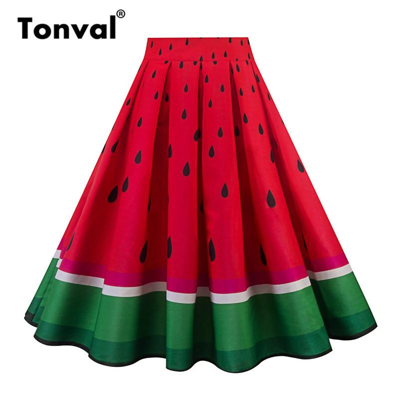 9855a24797c 2019 Tonval Vintage Pleated Midi Skirt Watermelon Print Summer Skirts Women  Red Contrast Green School Cute Skirt Y19043002 From Zhengrui01