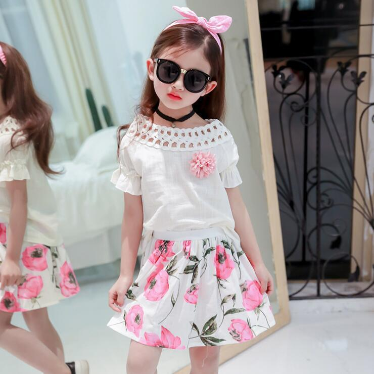 cf350d6890e 2019 Girls Princess Summer Clothing Set Kids O Neck Short Sleeve White T  Shirt And Floral Printed Skirt Set Baby Casual Clothes From Nextbest09