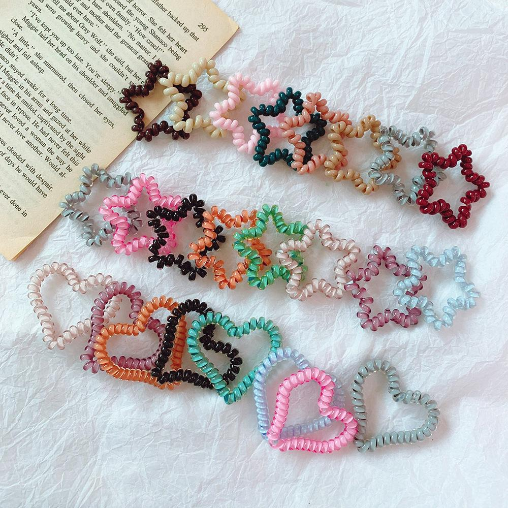 Star Telephone Wire Cord Colorful Heart Shape Hairband Hair Tie Girls Elastic Ponytail Holders Hair Ring Rope Fashion Bracelet GGA2404