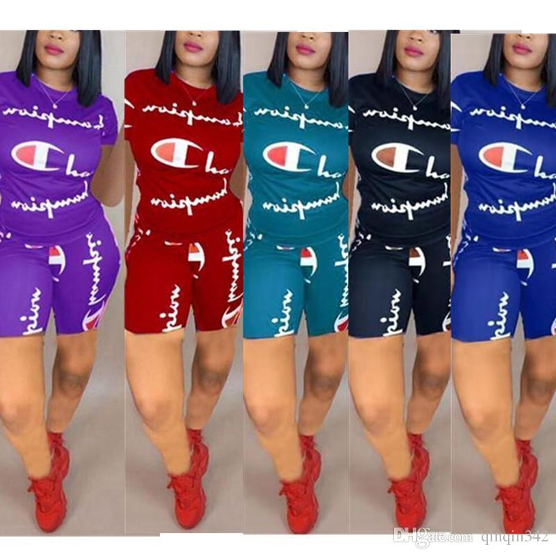 8c6b5a23d Women Champions Print Shorts Tracksuit Short Sleeve Tshirt Tops + Shorts  Pants 2PCS Set Outfit Sportswear Summer Jogger Suit S-3XL