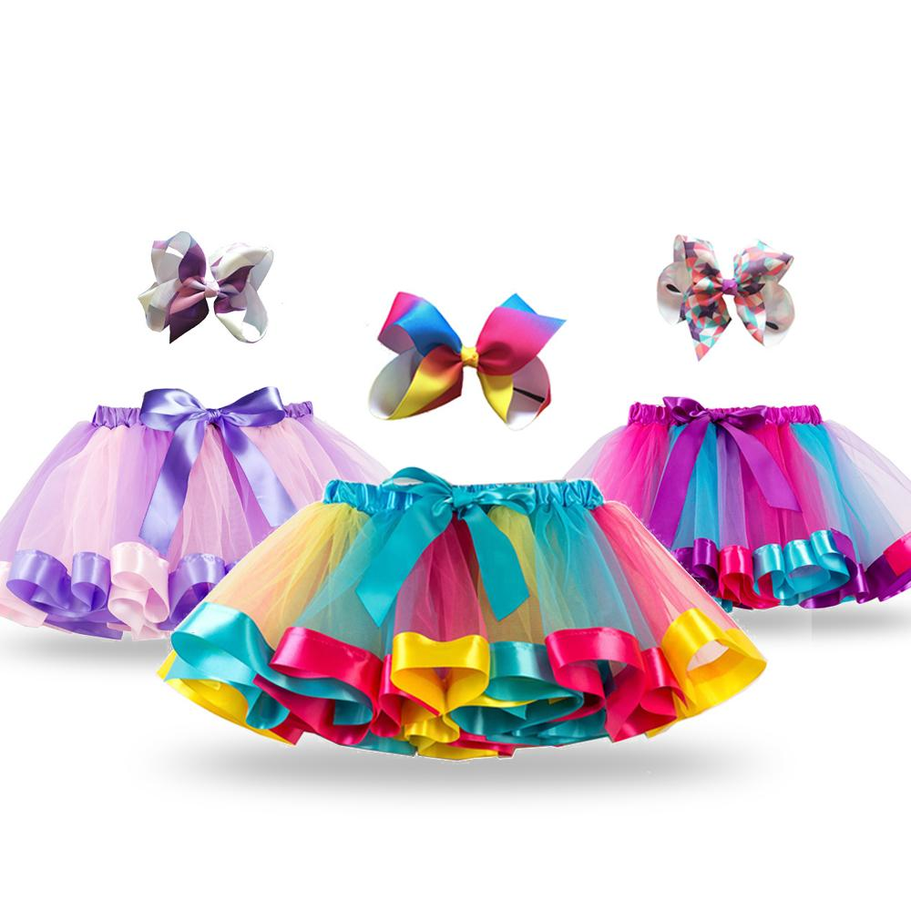 Free Bow+Tutu Skirt Baby Girls 12M-8T Princess Pettiskirt Rainbow Kids Party Tutu For Girls Skirt Children Clothing